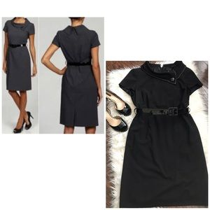 Tahari Dresses - Tahari Black Fold Over Collar Black Sheath Dress